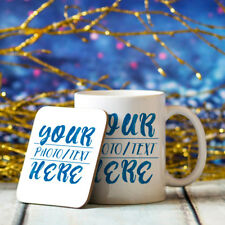 Personalised Mug & Coaster Set 11oz Customized Photo Image Text Coffee Cup Gift