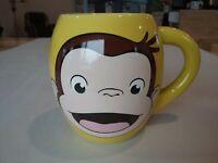 Curious George Coffee Mug Yellow Brown 16oz Yellow Hat Monkey barrel shape