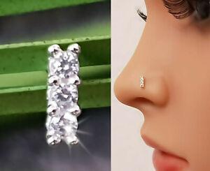 925 Echt Silber Nasenpiercing Nasenstecker Stecker Piercing Zirkon Steine Neu