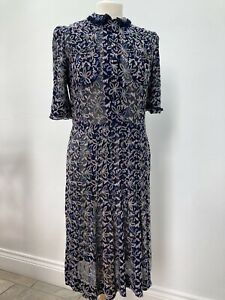 True Vintage 1940s Land Girl Blue Floral Embroidered Puff Sleeve Dress