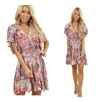 NWT Angie Smocked Pink V-Neck Floral Flutter Sleeve Boho Sun beach Dress S/M/L