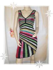 A - Magnifique Robe  Rayures Multicolores Maille Tricotée  Desigual  T M