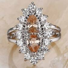 PEAR CUT MORGANITE & WHITE TOPAZ .925 SILVER RING SIZE 8
