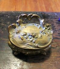 Antique Art Nouveau Metal Jewelry Box Footed