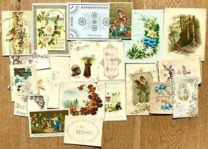 Original job lot 20 x Victorian & Edwardian greetings cards, chromo, die-cut etc
