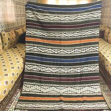 """Vintage Moroccan Rug Carpet Kilim - Berber Tribal - Orange Stripes - 7'6"""" x 5'3"""""""