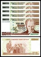 TURKEY 100,000 LIRA 1970 (1997), UNC, 5 PCS CONSECUTIVE LOT, P-206, PREFIX J