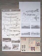 """Canberra T4,Phantom Fgr2/Buccaneer S2A/Hunter T7 """"7 Raf"""" Modeldecal 1/72"""