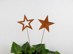 2er SET Sterne rost Adventsdeko Stern Weihnachtsdeko Pick basteln Dekostab XMas