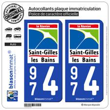2 Blasonimmats plaque auto | 974 Saint-Gilles les Bains - Lieu-Dit  | 97434