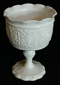 """Unmarked 6-3/8"""" Flared Embossed Scroll & Daisy Milk Glass Goblet"""