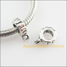 12 New Round Charms Tibetan Silver Tone European Bail Bead Fit Bracelet 7.5x11mm