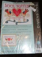"""DIMENSIONS CREWEL EMBROIDERY KIT - SOUL MATES ANNIVERSARY RECORD 12"""" x 9"""""""