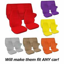 Solid Color Car Seat Covers (Full Set, Semi-custom) Black/Gray/Brown/Blue/Pink+
