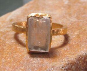 Gold plated brass everyday natural hiddenite ring UK N-N½/US 7. Gift Bag.