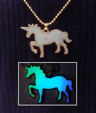 Magic UNICORN Glitter GLOW IN THE DARK Gold Horse Fantasy Charm Pendant Necklace