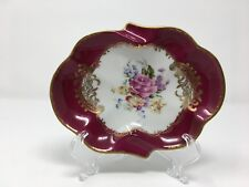 Vtg Couleuvre Ligne Limoise France Red and Gold Ash Tray w/ Flowers in Center