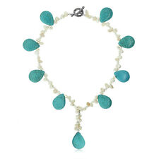 """18"""" Drop Turquoise Howlite & Cultured Freshwater Pearl Necklace w/ Toggle Clasp"""