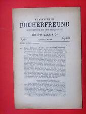 Frankfurter Bücherfreund  * Antiquariats-Katalog * Nr. 7 v. 1901