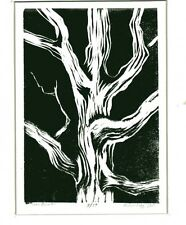 "Original:,lino print, ""Tree Bones # 4"", artist, Robert Fagg, SFA,Signed,US,New"