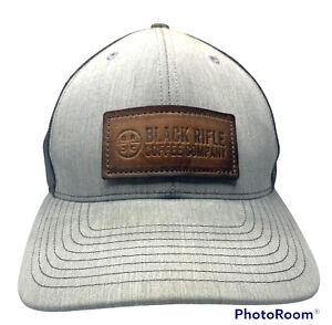 Black Rifle Coffee Company Trucker Hat Snapback Mesh Black/Gray Leather Patch