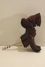 Art Deco Black Forest French Wood Corkscrew Dog Figural Glass Eyes