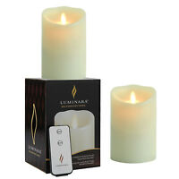 """Luminara Flameless Moving Wick 5"""" Vanilla Scented Led Candles w/ Remote Timer"""