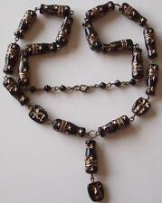 VINTAGE Art Deco Ceco Egyptian revival Viso & Bottiglia Di Vetro Perline Goccia Collana