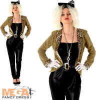 80s Mega Pop Star Fancy Dress Ladies 1980s Madonna Celebrity Women Adult Costume
