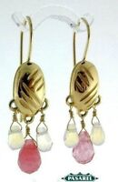14k Yellow Gold Rose Quartz Hanging Earrings