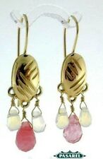 14k Yellow Gold Rose Quartz Hanging Earrings