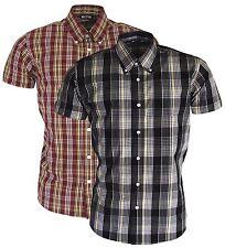 Relco Short Sleeved Black & Burgundy Button Down Collar Mod Skinhead Ska Shirt