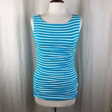 Vince Camuto Petites Turquoise & White Striped Tiered Tank Top Size PS Small