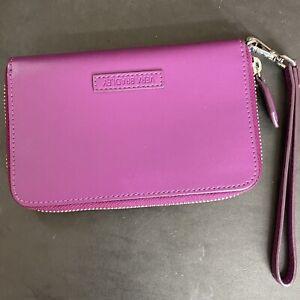 Vera Bradley Purple Zip Around Wristlet Wallet Solid Fuchsia Vegan Leather New