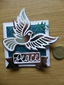 15 Glitter & Silver Christmas  Simple Peace Dove handmade christmas card toppers