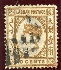 Labuan 1880 QV 10 C marrón muy bien usada. SG 8. SC 8.