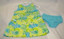 LILLY PULITZER BABY GIRL DRESS YELLOW GREEN AQUA BLUE VINTAGE WOODY CAR 6-12