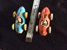 2 Vintage Brio? Wooden Toy  Racing Cars with Rabbit Drivers.