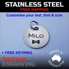 Personalised Brushed Stainless Steel Pet Dog Cat Tag Custom Round 25mm