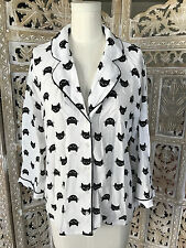 NWT! Forever 21 Black Cat Kitten Print PJ Pajama Sleep Button Down Shirt Top M