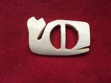 "Vintage 1970s ""Save The Whales"" Belt Buckle Bovine Bone handmade"