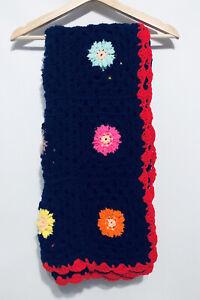 "Crocheted Afghan Blanket 46"" X 46"" Granny Squares Wool Scalloped Hem Comfy"