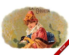 VINTAGE WOMAN IN FANCY CLOTHES CIGAR AD POSTER ART REAL CANVAS PRINT