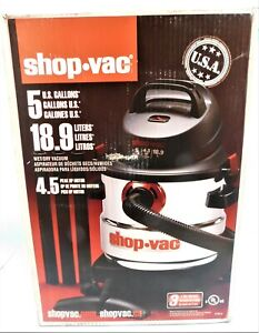 Shop*vac Shop Vac 5-Gallon 4.5 Peak HP Stainless Steel Wet Dry Vacuum Cleaner