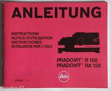 Originale Bedienungsanleitung manual f.Diaprojektor Leitz Pradovit R 150/RA 150