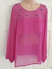 ladies size 18 kaftan pink detail longsleeve top by the edit M&Co (BNWT)