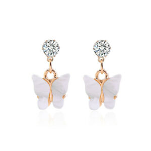 White 1Pair Butterfly Crystal Rhinestone Acrylic Dangle Hoop Earrings Women Gift