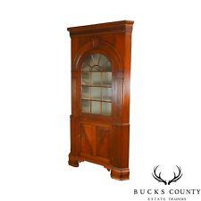 Bon Chippendale Style Large Walnut 2 Piece Corner Cabinet
