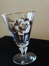 Set of 4 Libbey/Rock Sharpe Clear  Golden Rose Water Goblet Stem 3004