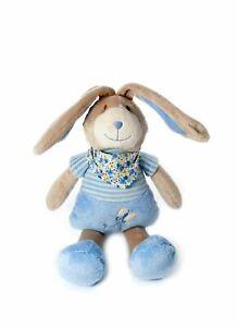 Petite peluche de lapin bleue pour garcon nouveau-né.
